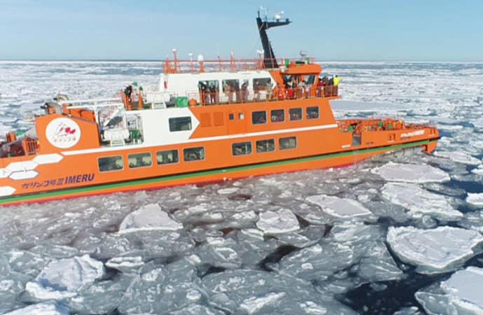 [札幌発]流氷砕氷船『ガリンコ号III・IMERU』乗船&層雲峡氷瀑まつりライトアップへ。<昼食は海鮮炉端焼きに舌鼓!>冬の北海道でしか味わえないプレミアム日帰りバスツアー